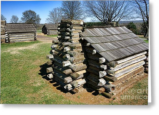 Log Cabins at Valley Forge Greeting Card by Olivier Le Queinec