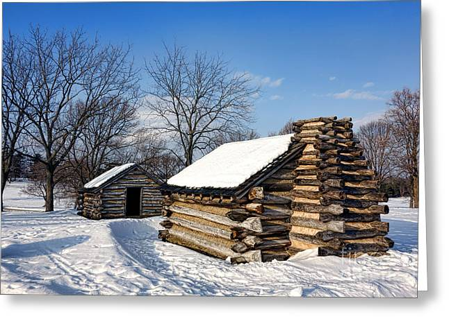 Valley Forge Greeting Cards - Log Cabins in Snow Greeting Card by Olivier Le Queinec