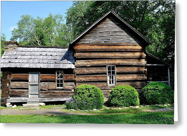 Cabin Window Greeting Cards - Log House Greeting Card by Todd Hostetter
