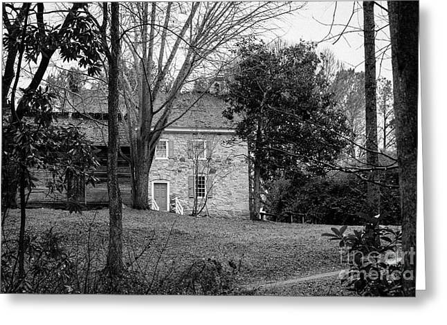 Charlotte Museums Greeting Cards - Log Kitchen with Stone House Beyond II Greeting Card by Robert Yaeger