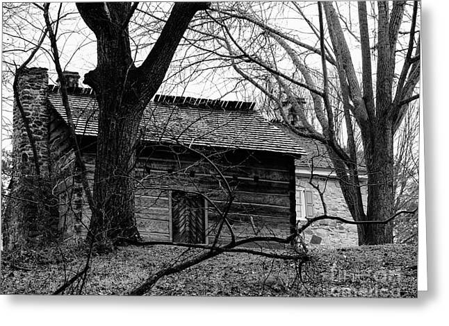 Charlotte Museums Greeting Cards - Log Kitchen with Stone House Beyond Greeting Card by Robert Yaeger