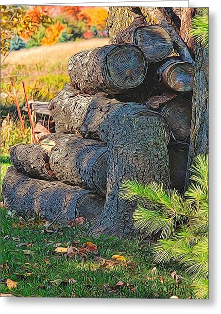 Log Pile Greeting Card by Bob Northway