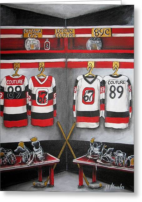 Hockey Paintings Greeting Cards - Logan Couture Locker Room Greeting Card by Jill Alexander