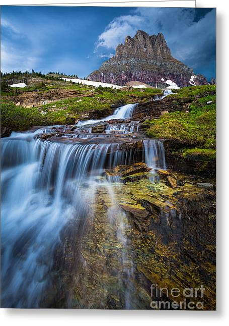 Clouds; Landscape; Mountainous; Mountains; Nature; Nobody; Outdoors; Outside; Rocks; Rocky; Sky; The Altay Mountains; Tourism Greeting Cards - Logan Pass Stormclouds Greeting Card by Inge Johnsson