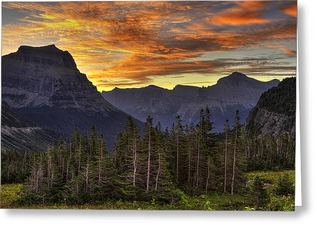 Beauty Mark Greeting Cards - Logan Pass Sunrise Greeting Card by Mark Kiver