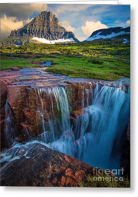 Logan Pass Sunset Greeting Card by Inge Johnsson