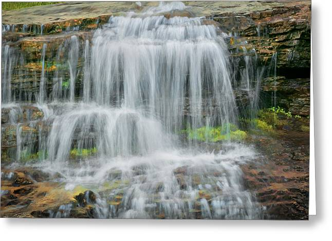 Clean Water Greeting Cards - Logans Pass Waterfall Glacier National Park Greeting Card by Rich Franco