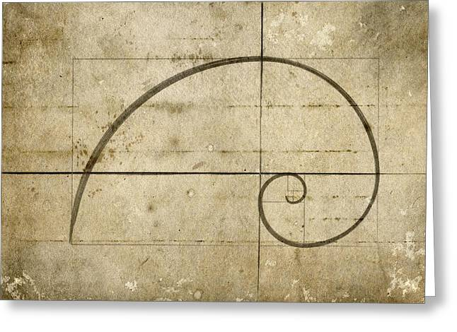 Golden Brown Greeting Cards - Logarithmic Spiral Greeting Card by Brett Pfister