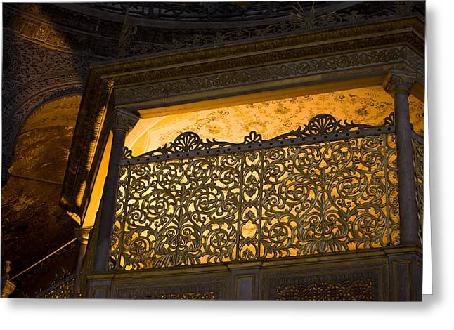 Hagia Sophia Greeting Cards - Loge of the Sultan in Hagia Sophia  Greeting Card by Artur Bogacki