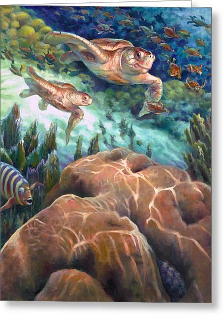 Brain Paintings Greeting Cards - Loggerhead Sea Journey I Greeting Card by Nancy Tilles