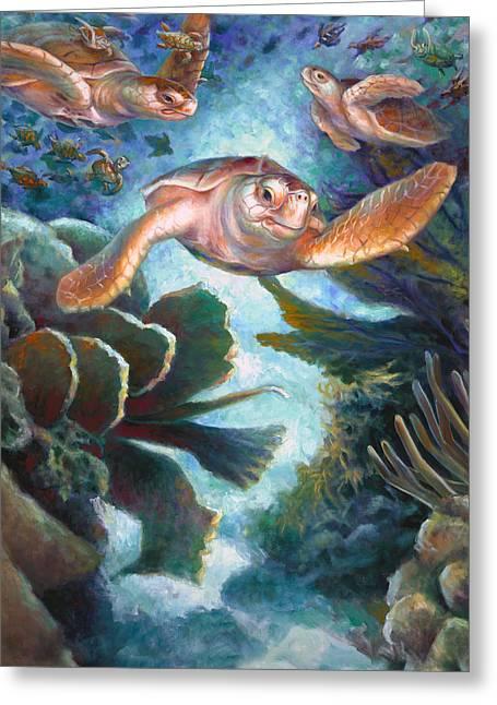 Brain Paintings Greeting Cards - Loggerhead Sea Journey II Greeting Card by Nancy Tilles