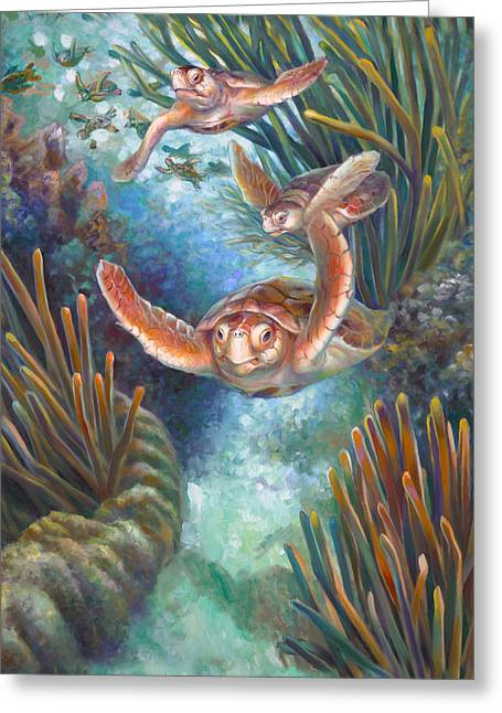 Embellished Greeting Cards - Loggerhead Sea Journey III Greeting Card by Nancy Tilles