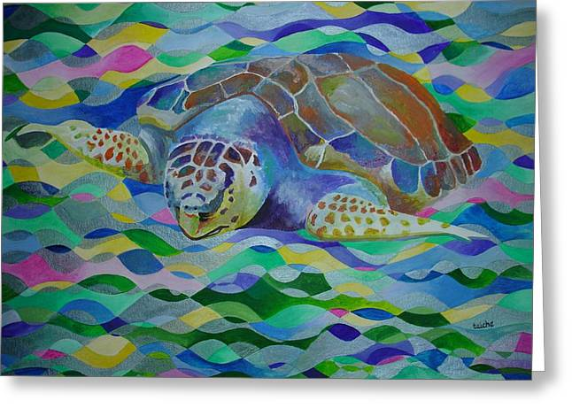 Tracey Harrington-simpson Greeting Cards - Loggerhead Turtle Greeting Card by Tracey Harrington-Simpson