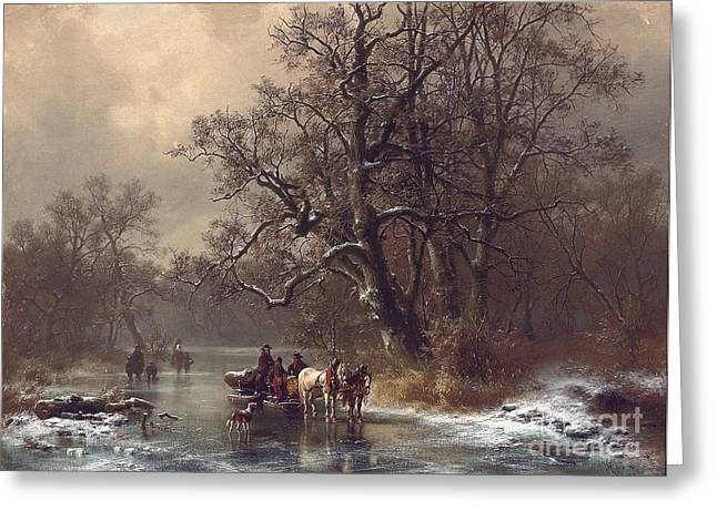 Logger Greeting Cards - Loggers on a frozen waterway Greeting Card by Heinrich Hofer