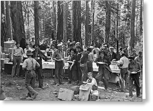 Logging Crew Lunch Greeting Card by Underwood Archives
