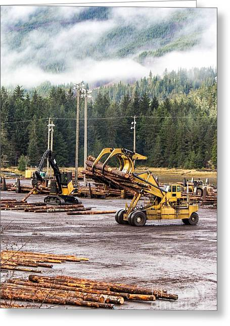 Grapple Greeting Cards - Logging Equipment Greeting Card by Alanna Dumonceaux