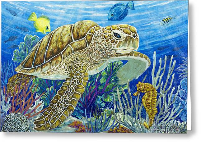 Sea Horse Greeting Cards - Logging Sea Time Greeting Card by Danielle  Perry