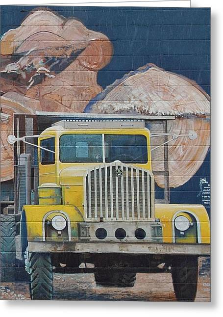 Logging Tractor Greeting Cards - Logging Truck Mural Greeting Card by Marshall Baker