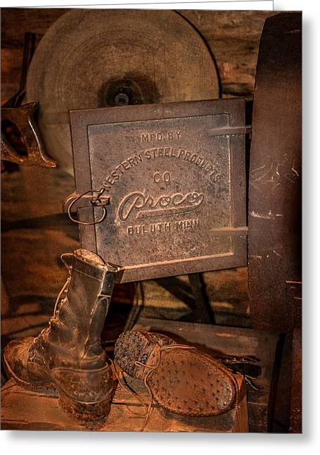 Wood Stove Greeting Cards - Logging Boots Greeting Card by Paul Freidlund