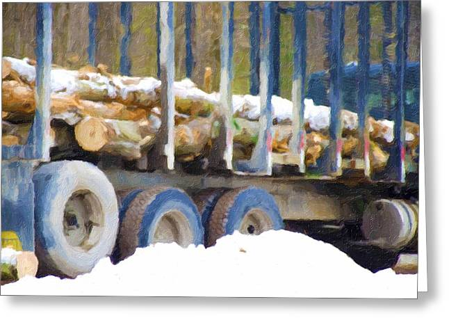 Logging Truck Paintings Greeting Cards - Logs in the truck Greeting Card by Lanjee Chee