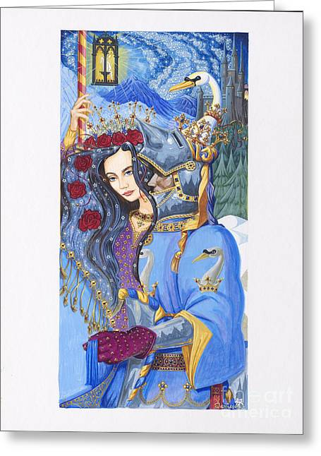 Chevalier Paintings Greeting Cards - Lohengrin Knight of the Swan  Greeting Card by Andrew Stewart Jamieson