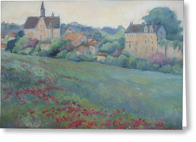 Provence Village Greeting Cards - Loire Valley Chateau Greeting Card by Linda  Wissler
