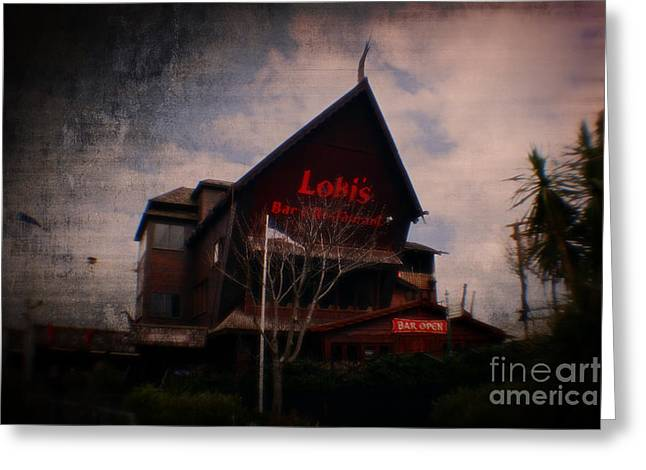 Waitress Mixed Media Greeting Cards - Lokis Bar and Grill Greeting Card by Michael Braham