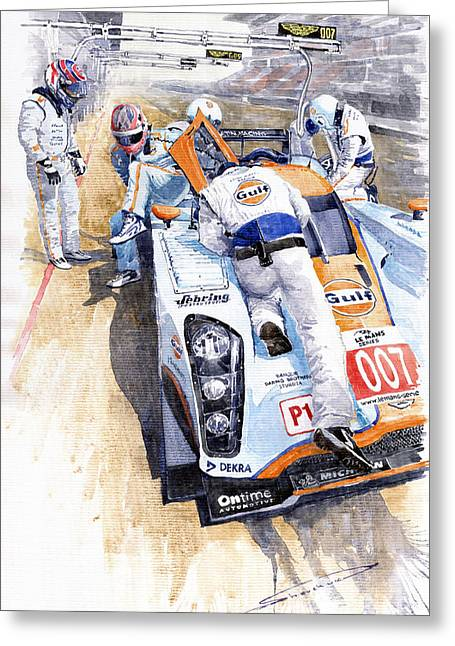 Team Paintings Greeting Cards - Lola Aston Martin LMP1 Gulf Team 2009 Greeting Card by Yuriy  Shevchuk