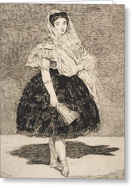 Black Veil Greeting Cards - Lola de Valence Greeting Card by Edouard Manet