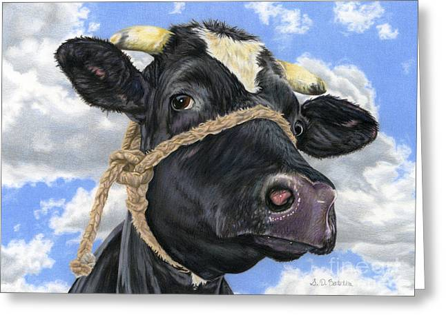 Cow Greeting Cards - Lola Greeting Card by Sarah Batalka