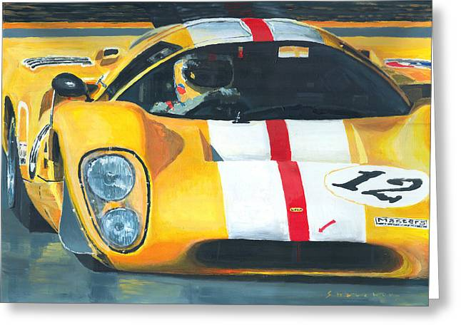 24 Greeting Cards - Lola T70 Mkiii/b 1969/1970 Season Cars Sebring Le Mans Greeting Card by Yuriy Shevchuk
