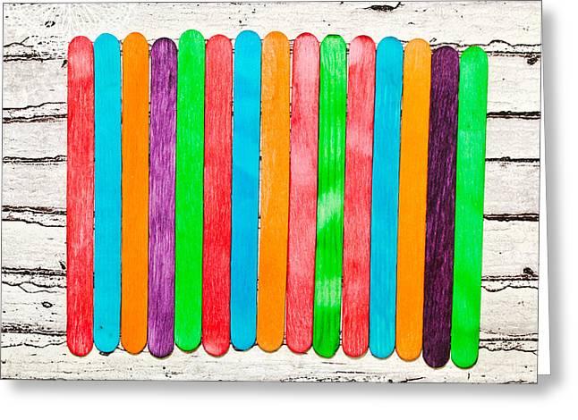 Spectrum Greeting Cards - Lollipop sticks Greeting Card by Tom Gowanlock