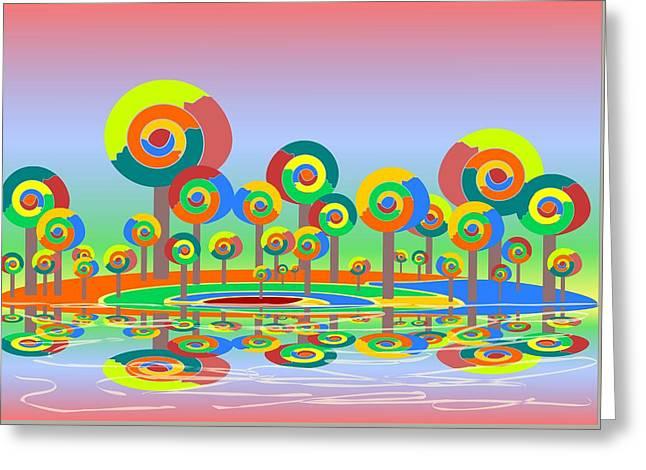 Hallucination Greeting Cards - Lollypop Island Greeting Card by Anastasiya Malakhova