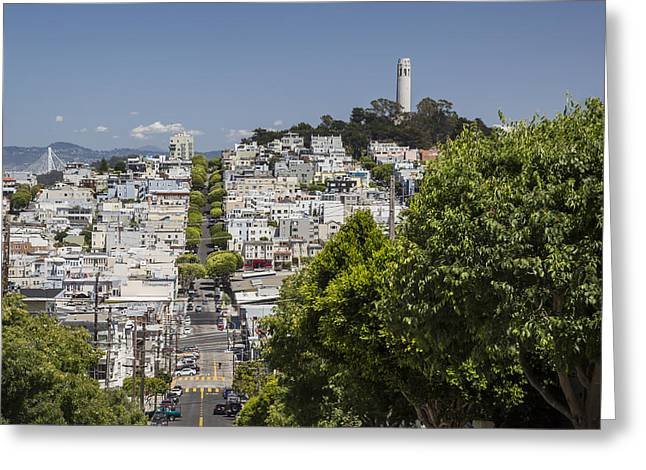 Lombard Street And Coit Tower On Telegraph Hill Greeting Card by Adam Romanowicz