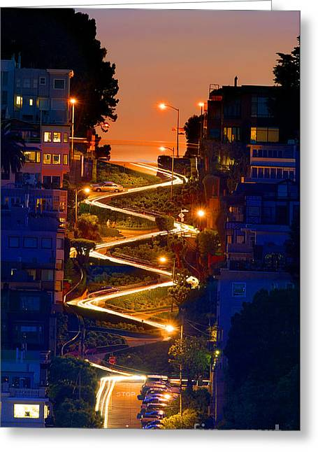 City Lights Greeting Cards - Lombard Street depth into the darkness of light Greeting Card by Wernher Krutein