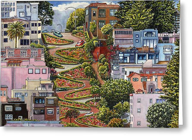 Lombard Street Greeting Card by Karen Wright