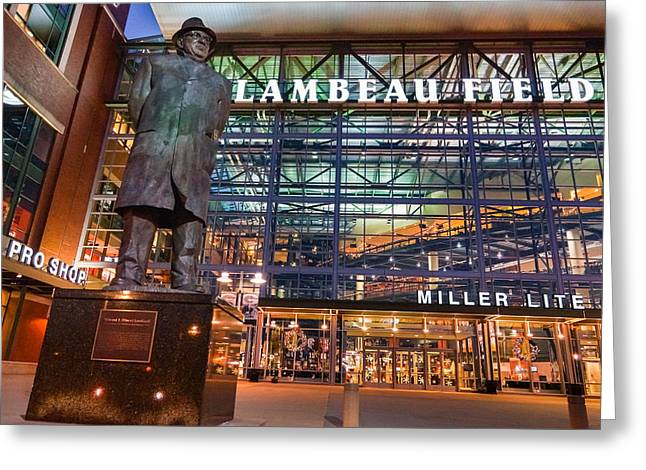 Lombardi At Lambeau Greeting Card by Bill Pevlor