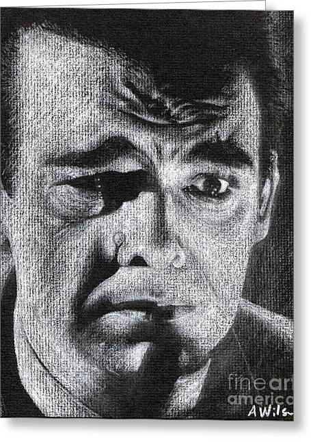 Film Noir Drawings Greeting Cards - Lon Chaney Greeting Card by Andrew Wilson
