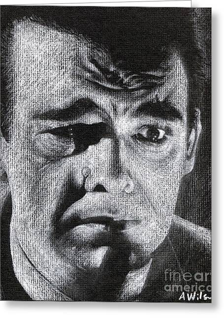 Film Noir Drawings Greeting Cards - Lon Chaney Portrait Greeting Card by Andrew Wilson