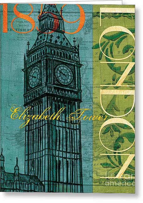 Orange Posters Greeting Cards - London 1859 Greeting Card by Debbie DeWitt