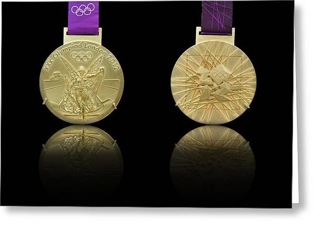Greek Goddess Nike Greeting Cards - London 2012 Olympics Gold Medal design Greeting Card by Matthew Gibson