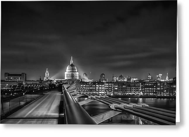 Thames River Greeting Cards - London black and white Greeting Card by Ian Hufton