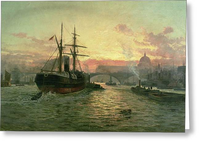 River Thames Greeting Cards - London Bridge Greeting Card by Charles John de Lacy