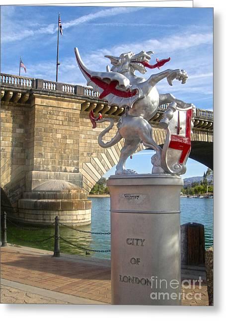 London Bridge Dragon Greeting Card by Gregory Dyer