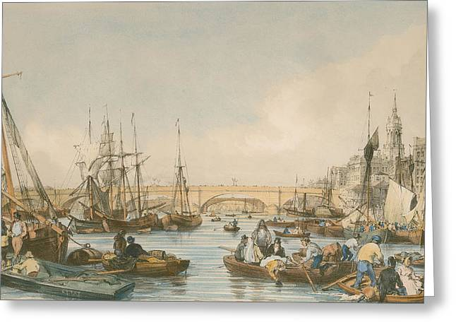 Yachting Greeting Cards - London Bridge from the Pool Greeting Card by William Parrot