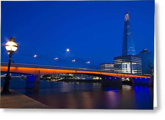 Chelsea Greeting Cards - London Bridge Shard night Greeting Card by David French