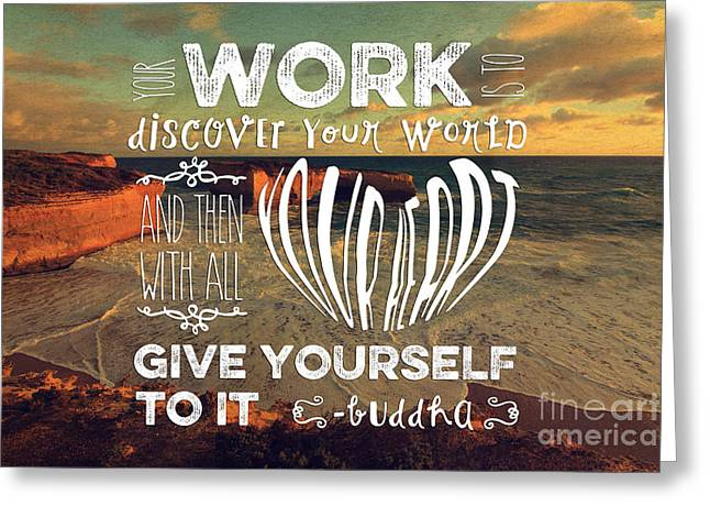 Self Discovery Greeting Cards - London Bridge Your Work is to Discover Your World Greeting Card by Beverly Claire Kaiya