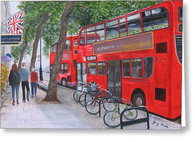 London Buses Greeting Card by Jenny Smith