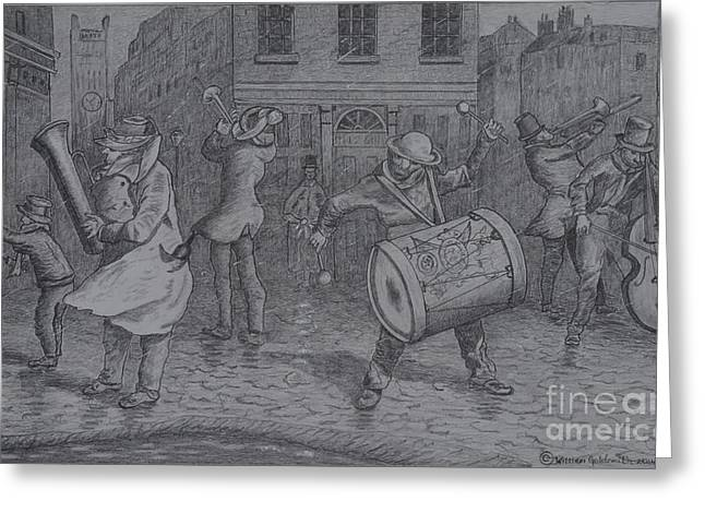 Entertainer Drawings Greeting Cards - London Buskers 1853 Greeting Card by William Goldsmith