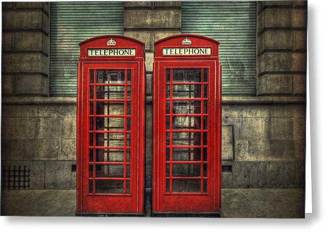 Telephone Booth Greeting Cards - London Calling Greeting Card by Evelina Kremsdorf